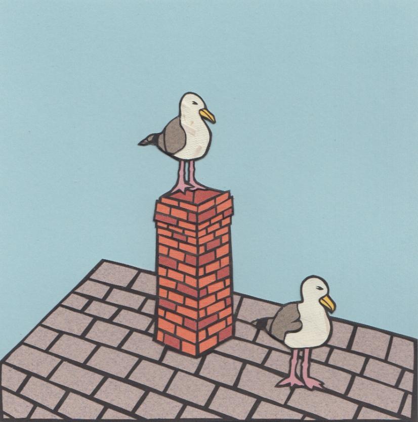 "Gulls on Roof / 2014 / 6""x6"""