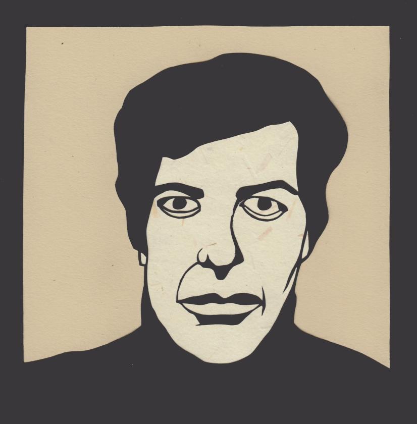 "Leonard Cohen 2 / 2016 / 6""x6"" / Sold."