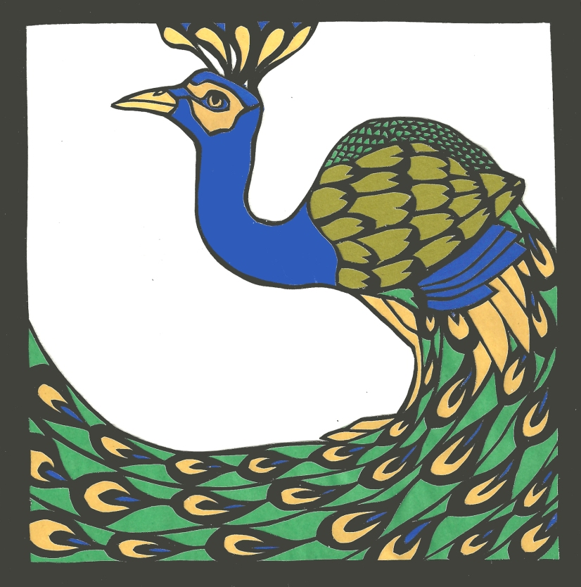 """Peacock / 2013 / 5""""x5"""" / Sold."""