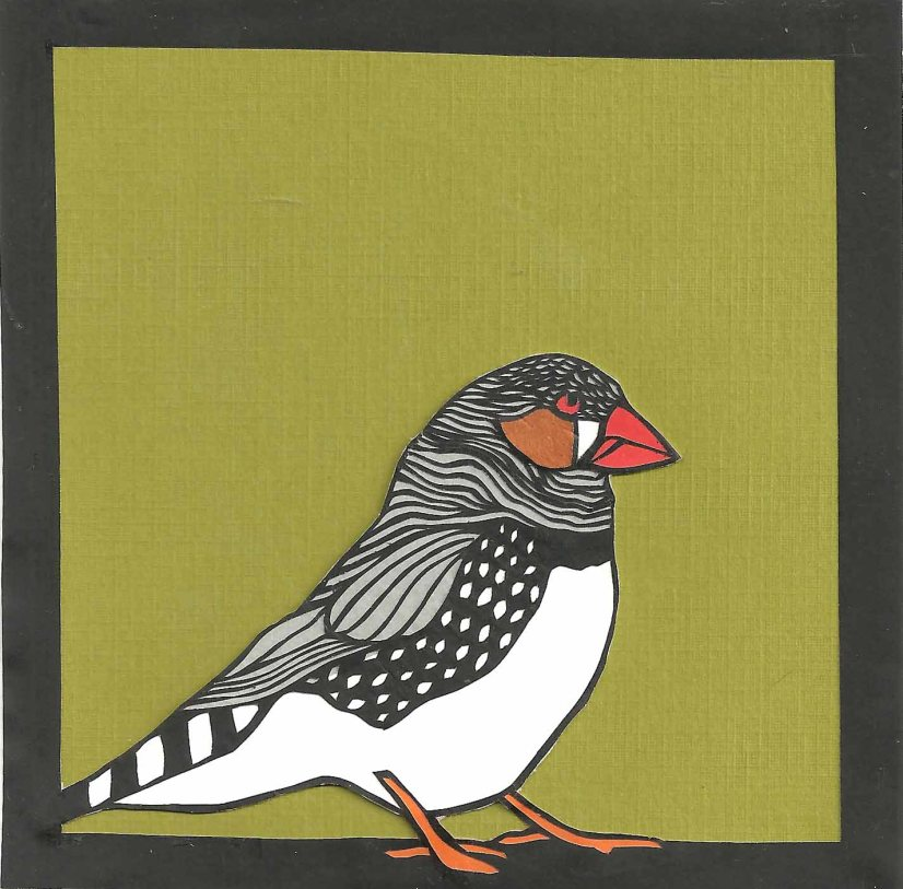 "Zebra Finch / 2012 / 5""x5"" / Sold."