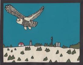 """Snowy Owl over Lighthouse Hill / 2018 / 8""""x10"""""""